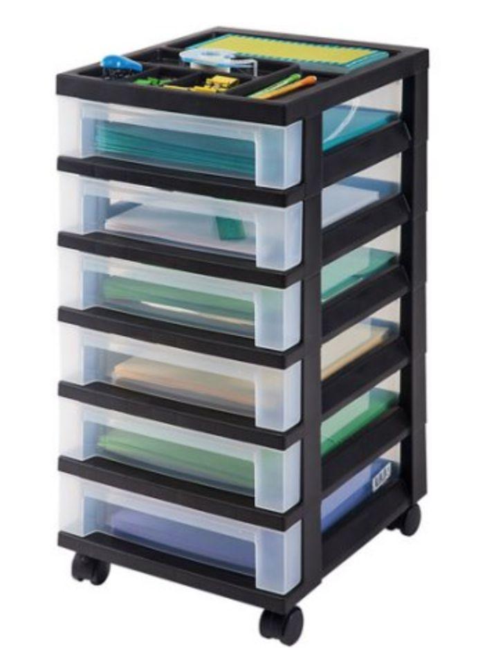 iris 6 drawer rolling storage cart w organizer top 10 at walmart ben 39 s bargains latest. Black Bedroom Furniture Sets. Home Design Ideas