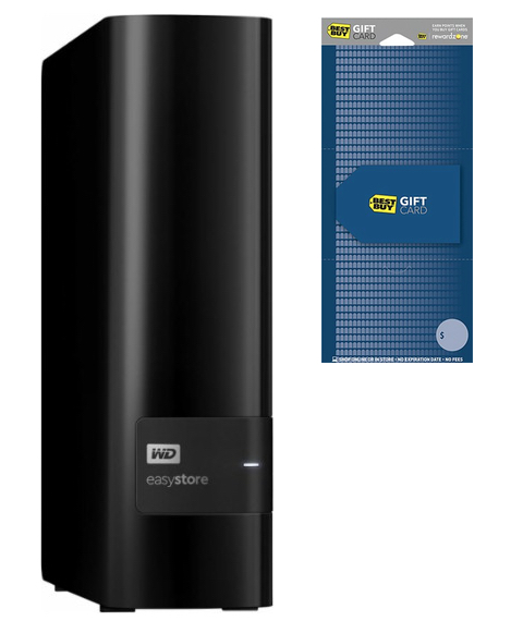 WD easystore 4TB External USB 3.0 HDD (2017) + $25 GC for  $90 at Best Buy online deal