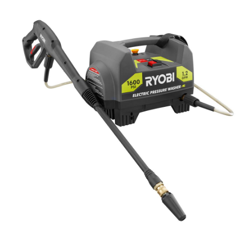 Ryobi 1,600-PSI 1.2-GPM Electric Pressure Washer  $70 at Home Depot online deal