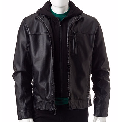 Calvin Klein Hooded Faux Leather Jacket  $39 at Stage Stores online deal