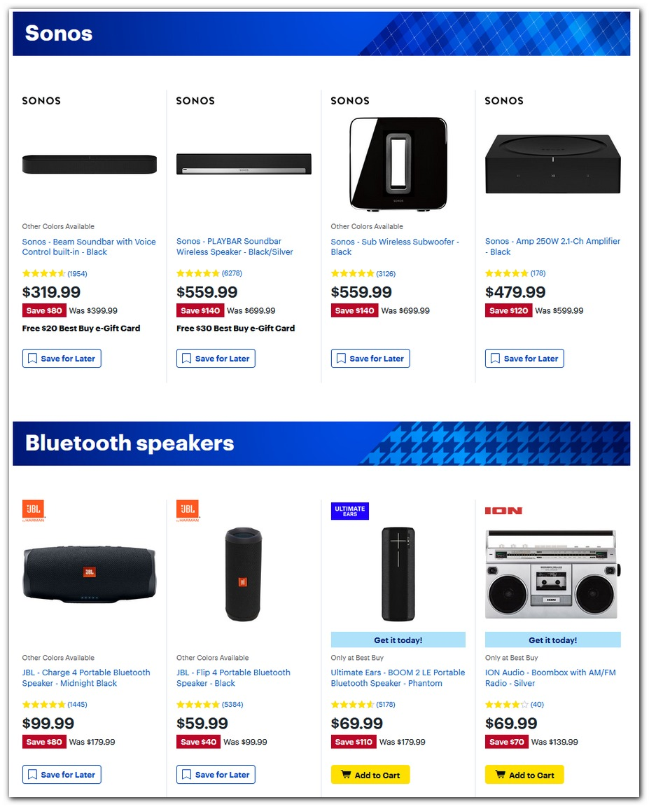 Sonos / Bluetooth Speakers