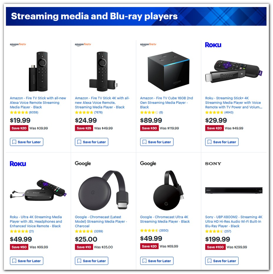Fire TV / Roku / Chromecast / Blu-ray