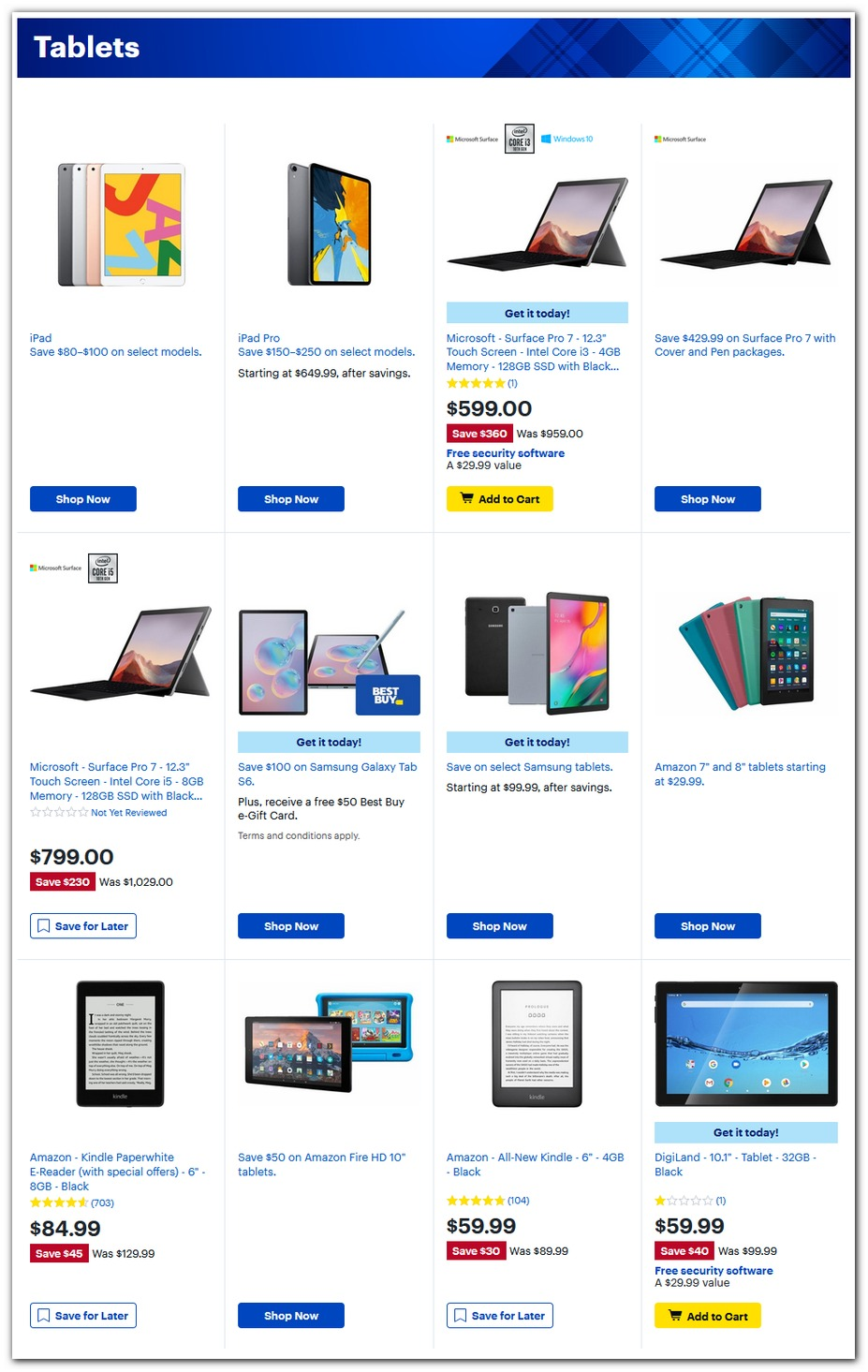 iPads / Surface / Kindle / Tablets