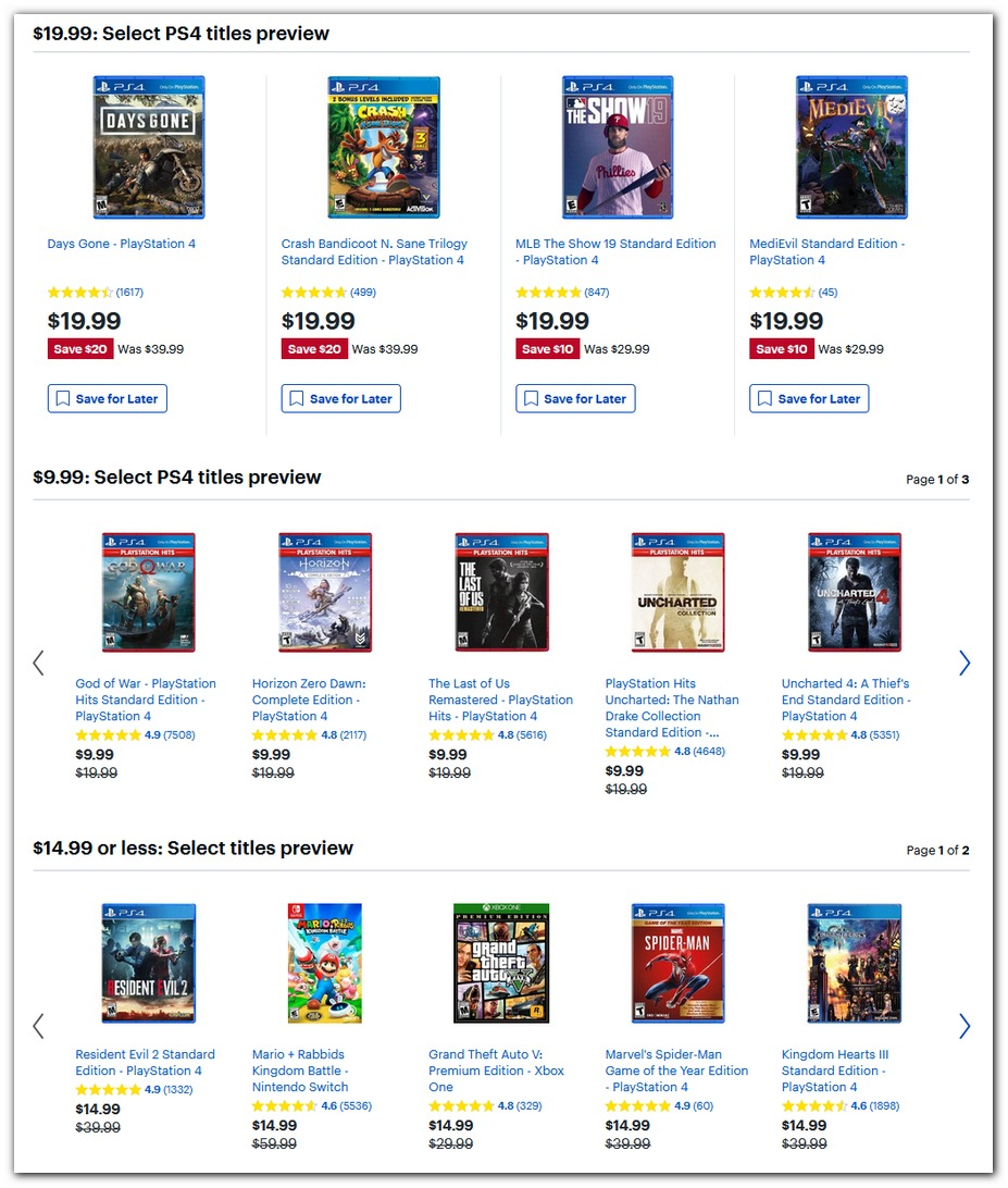 $10, $15, $20 PS4 Games