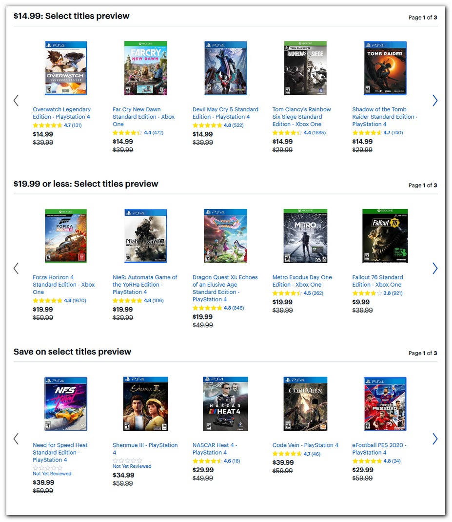 $15, $20 PS4 and Xbox One Games