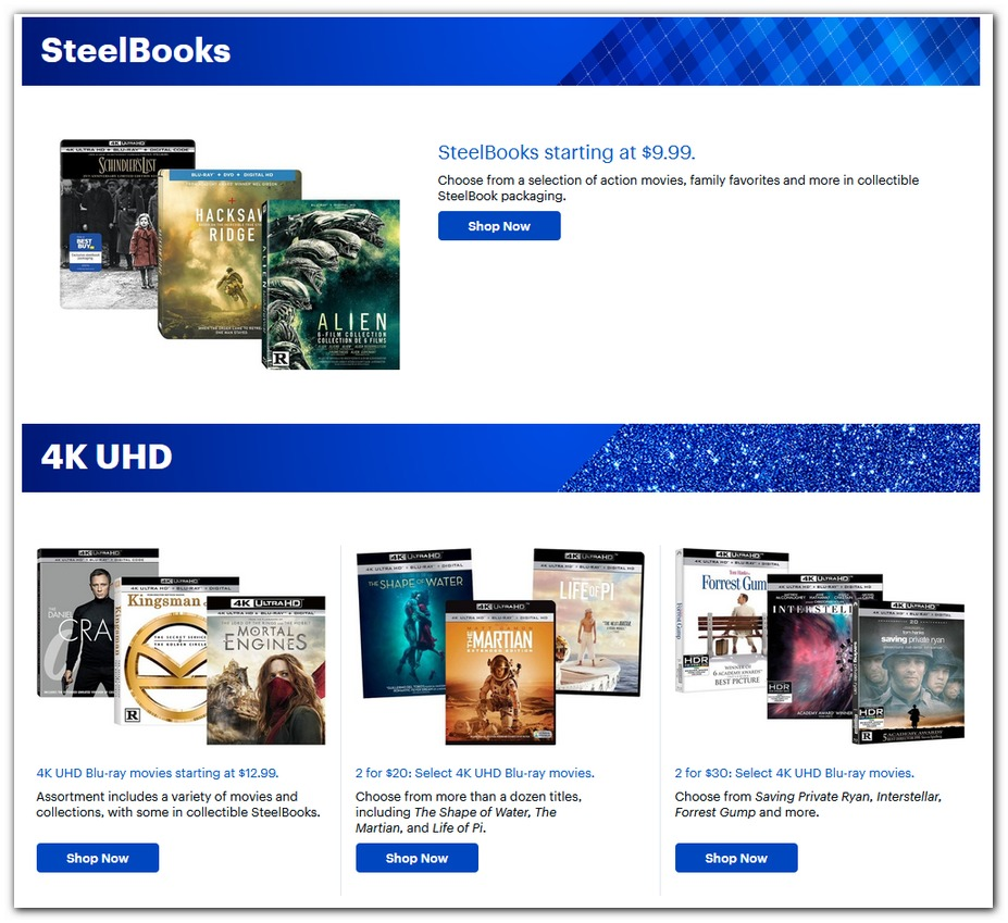 SteelBooks / 4K UHD Disc Deals