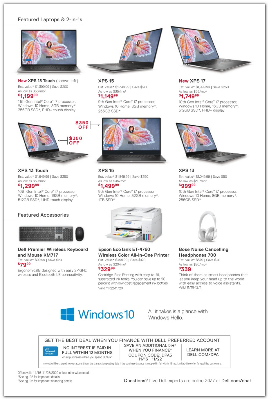 XPS Laptops / Printer / Bose Headphones