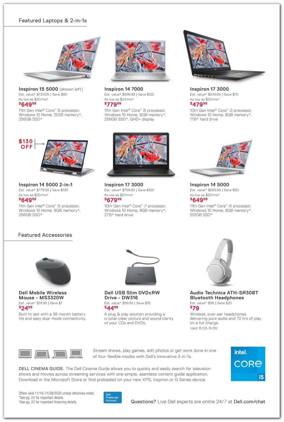 Inspiron Laptops / Mouse / Headphones