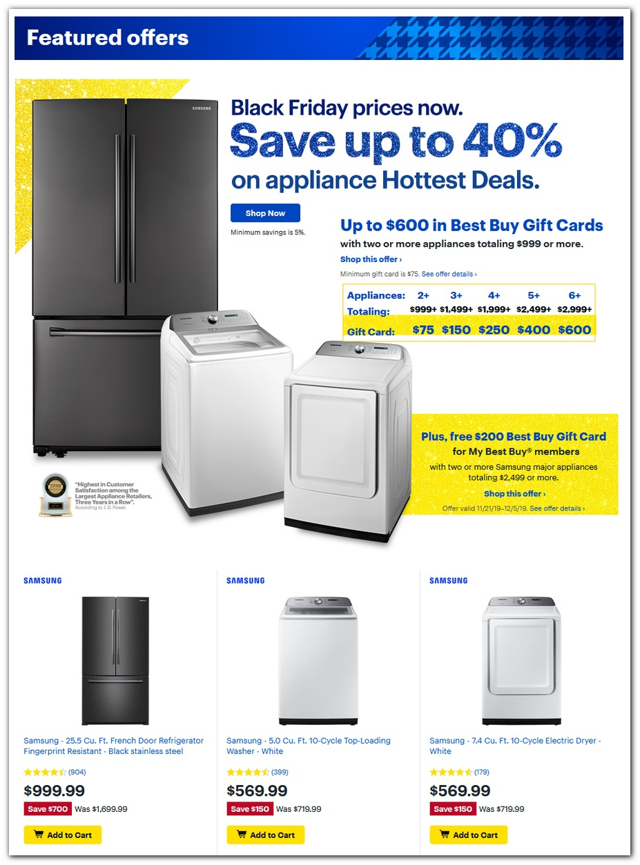 40% off Appliances w/ Gift Cards
