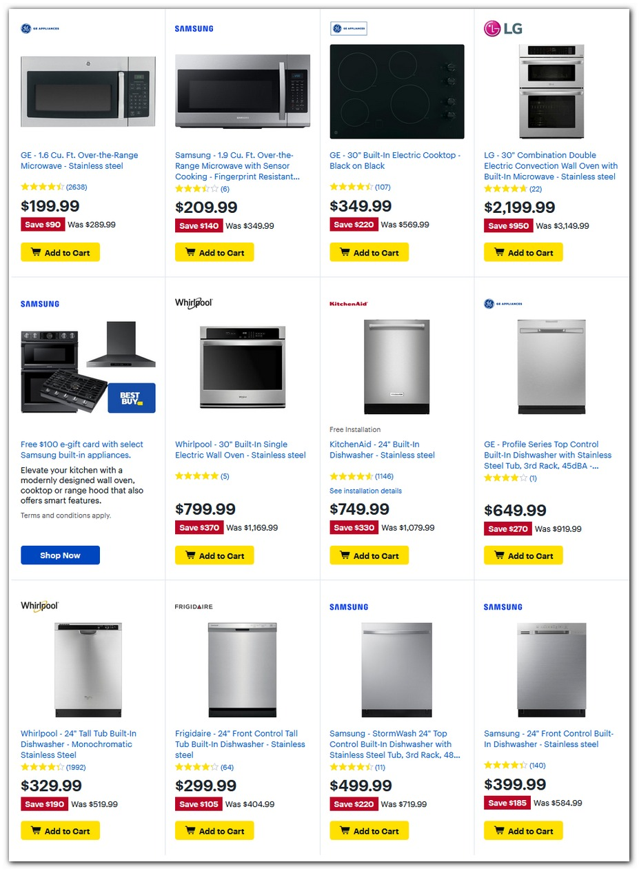 Microwaves / Dishwashers / Cooktop