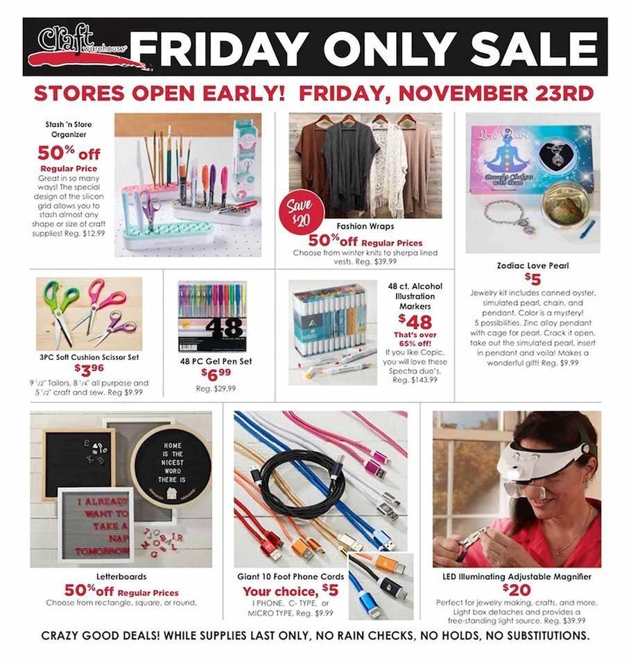 Black Friday Craft Warehouse Deals