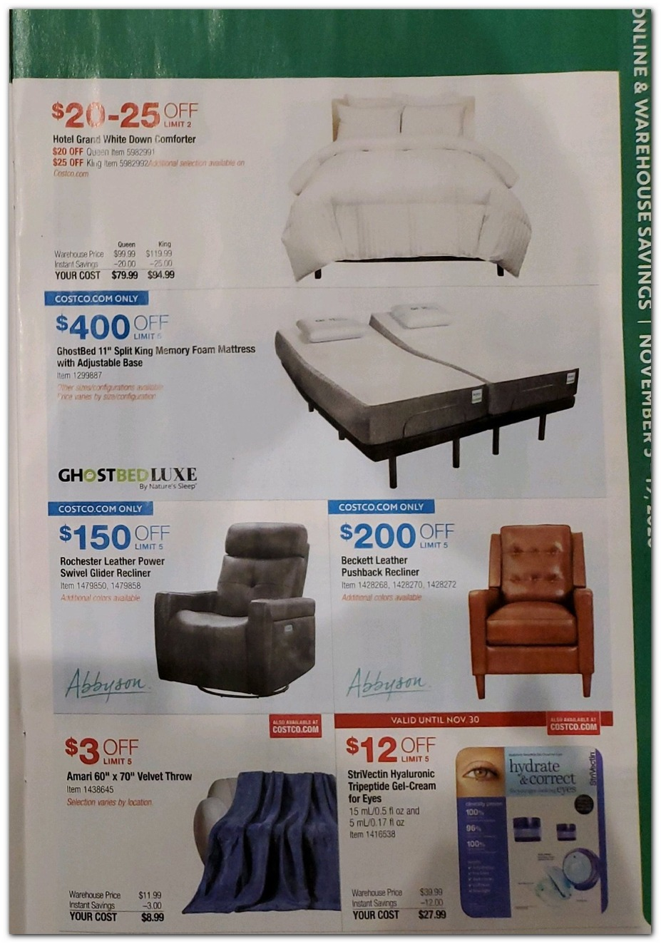 Nov 5 Sale - Bedding / Recliners