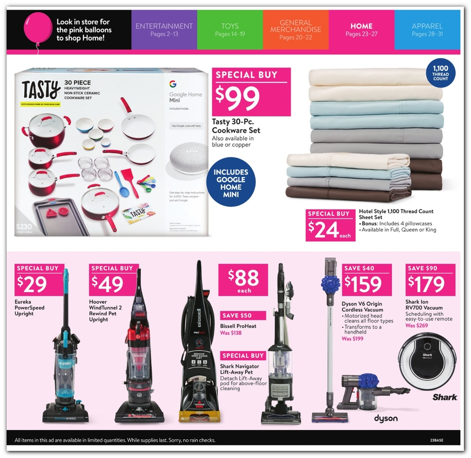 Cookware / Sheets / Vacuums