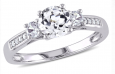 1.3-tcw White Sapphire & Diamond Accent Ring in White Gold