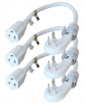 3-pack 1 ft. Flat Plug Extension Cord (15A 14AWG)