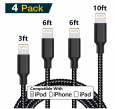 4-Pack Stcszx MFi Certified Nylon Braided Lightning to USB Cable