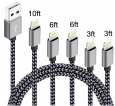 5-Pack IDiSON Nylon Braided Lightning to USB Cables