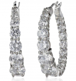 Amazon Collection Platinum-Plated Sterling Silver Swarovski Zirconia Hoop Earrings