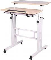 Mind Reader Mobile Sit & Stand Workstation Desk